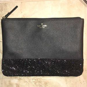 Kate Spade zippered pouch black glitter sparkles